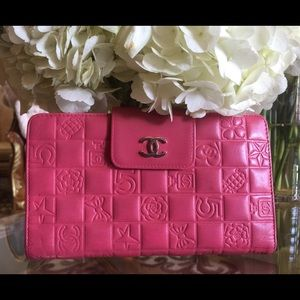 Authentic Chanel Lambskin Pink Charms Long Wallet
